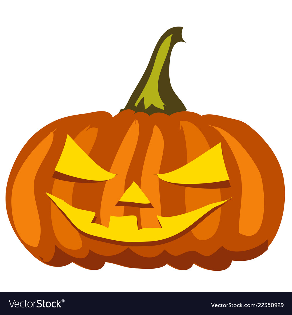 Ripe pumpkin with carved eyes and mouth attribute