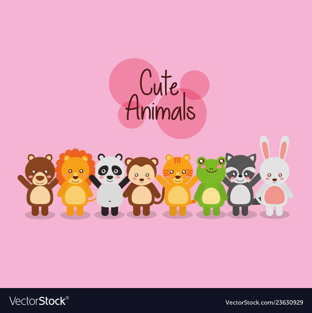 Set cute animals wildlife fauna