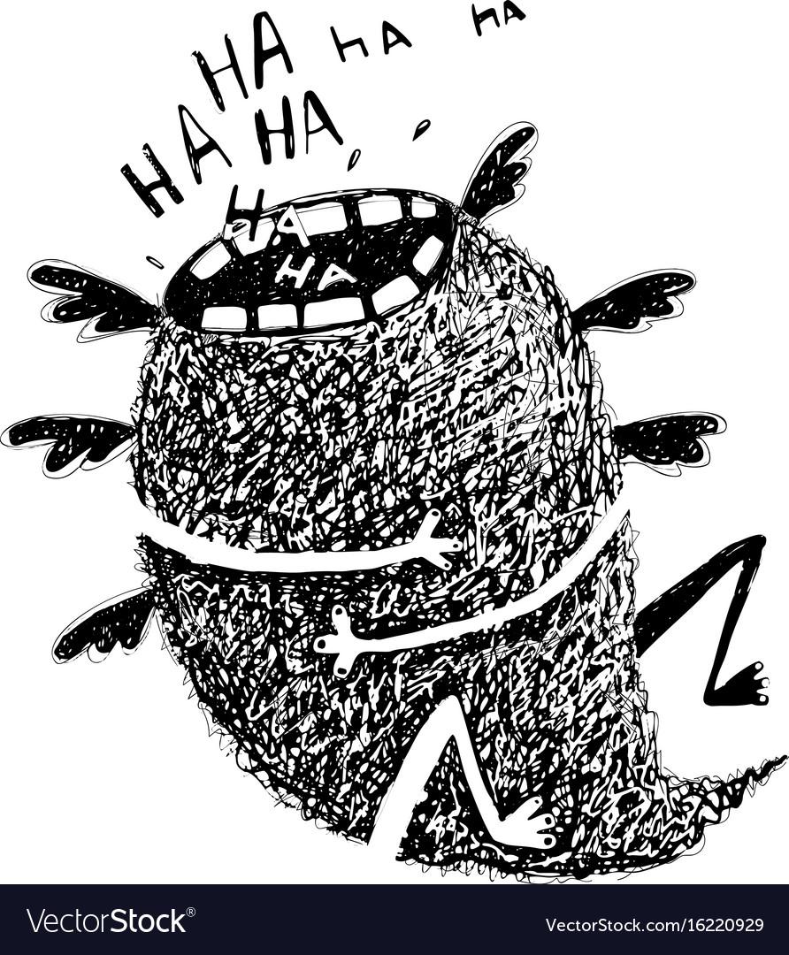 Sketchy monster crazy laughter flying
