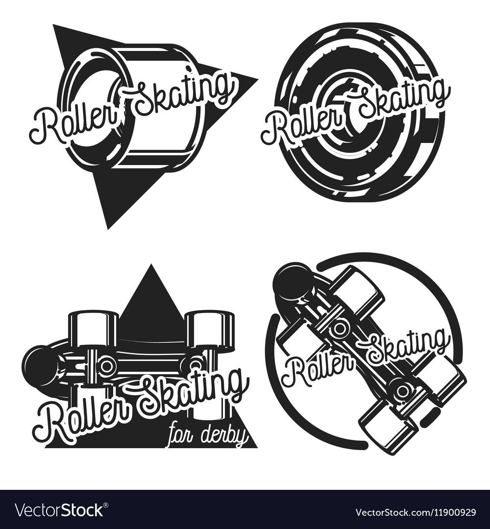 Vintage roller Skates emblems vector image
