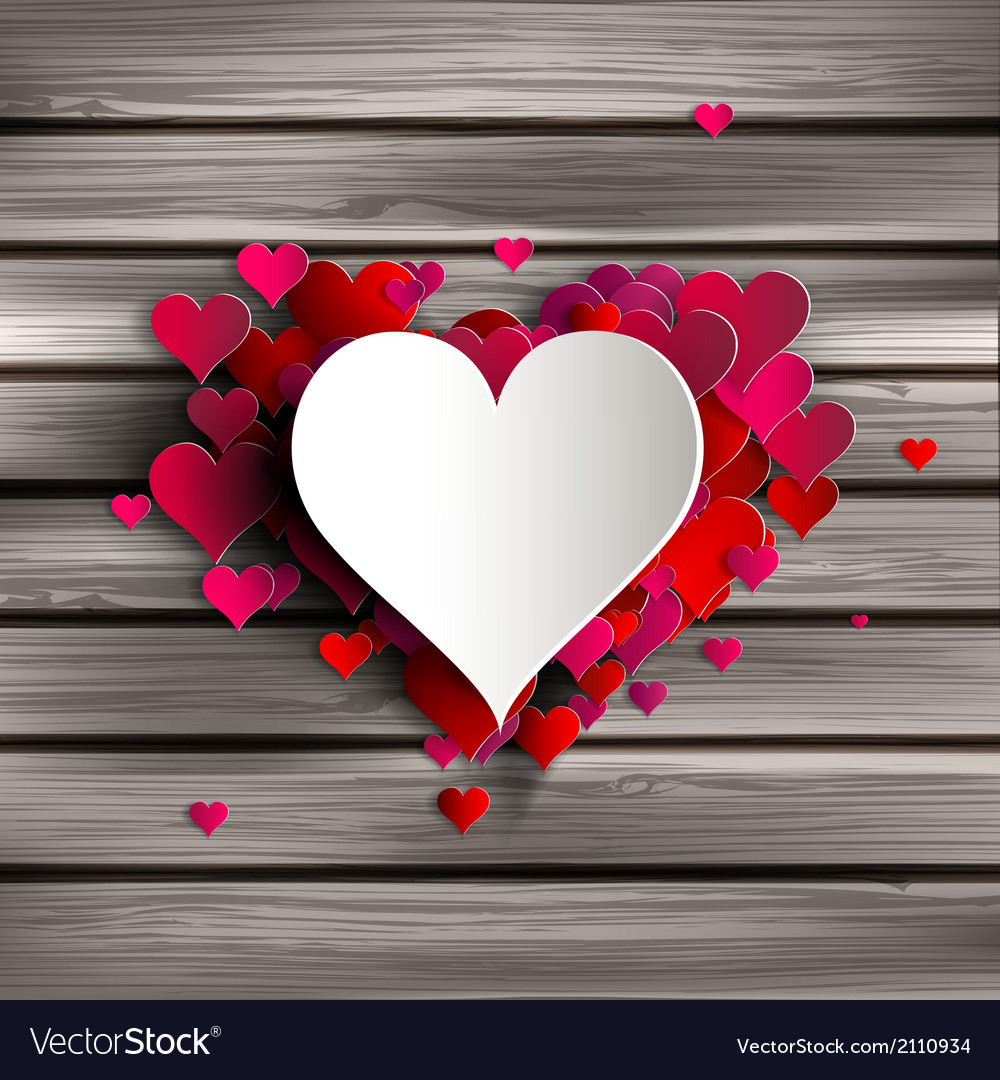 Abstract heart on wooden background vector image