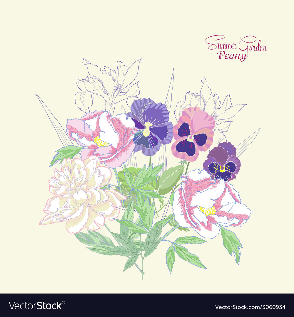 Background with peonies irises and pansies-01 vector image