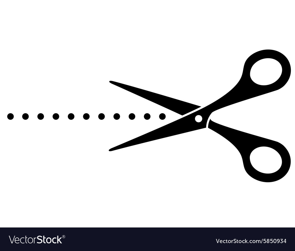 Black cutting scissors icon and points