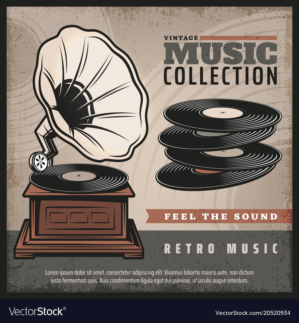 Colored retro gramophone poster vector image
