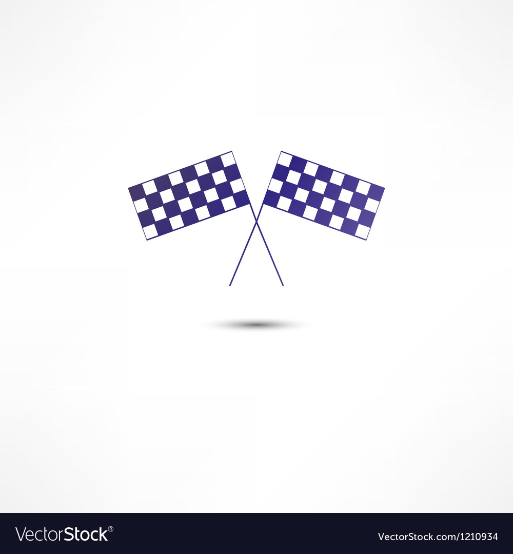Crossed racing flags icon vector image