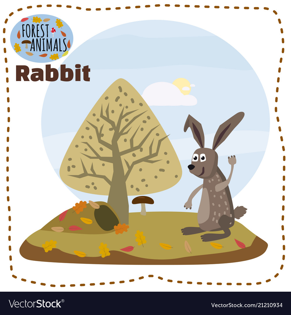 Cute cartoon rabbit on background landscape forest