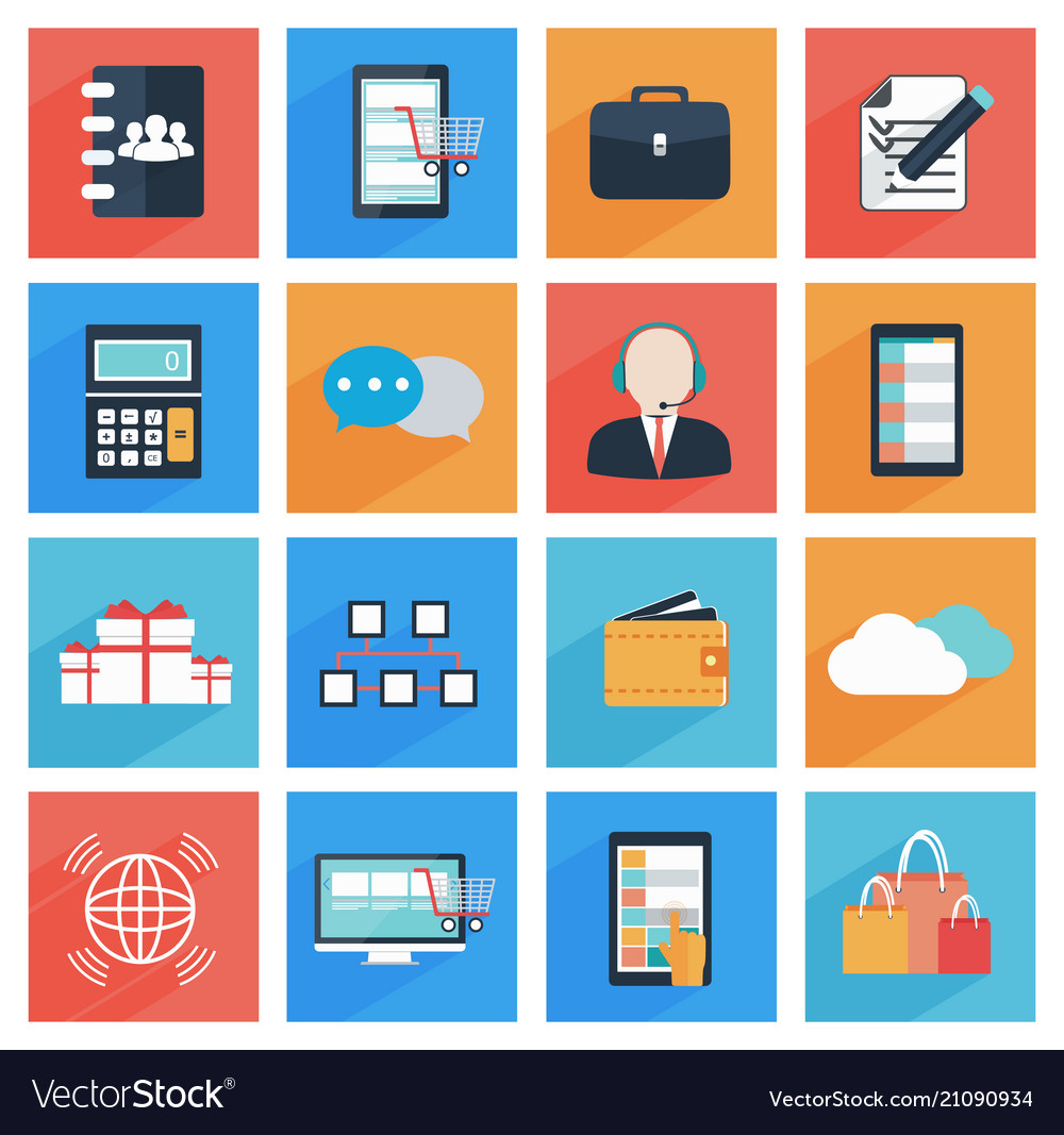Flat business and office icons with long shadow