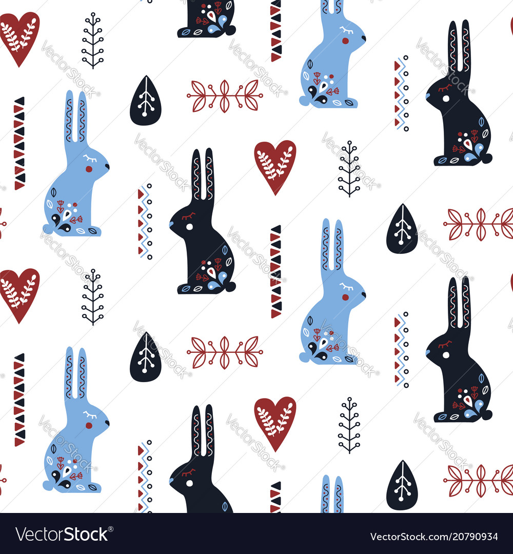 Folk art seamless pattern with rabbit