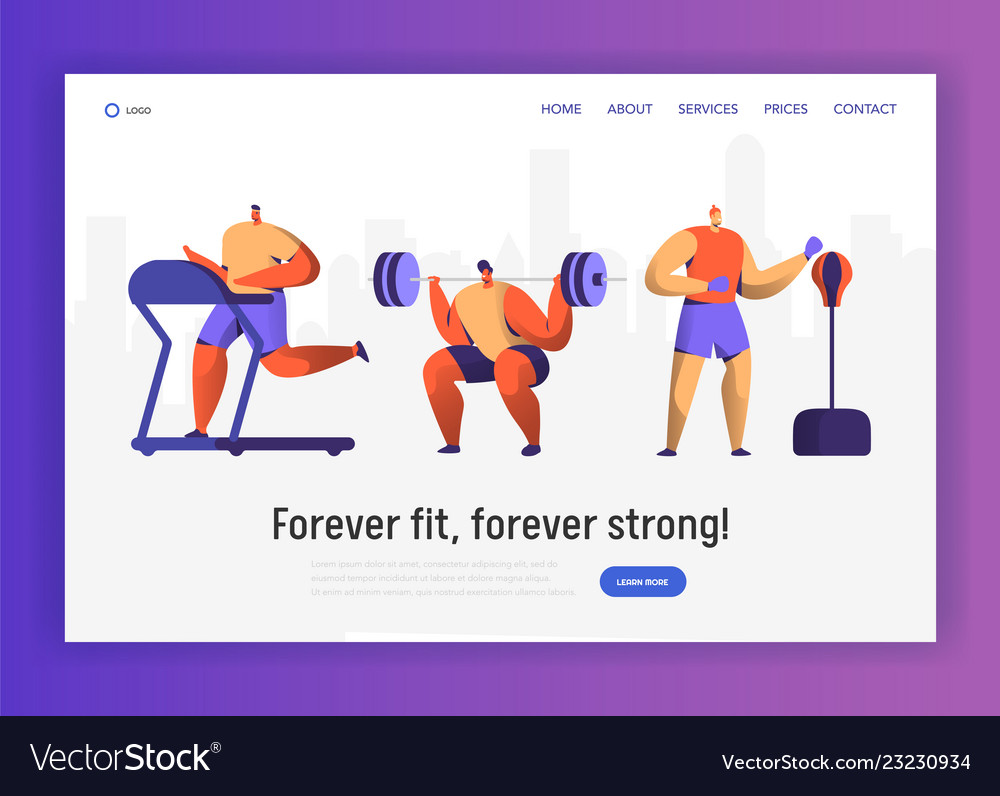 Gym boxing training character for website design