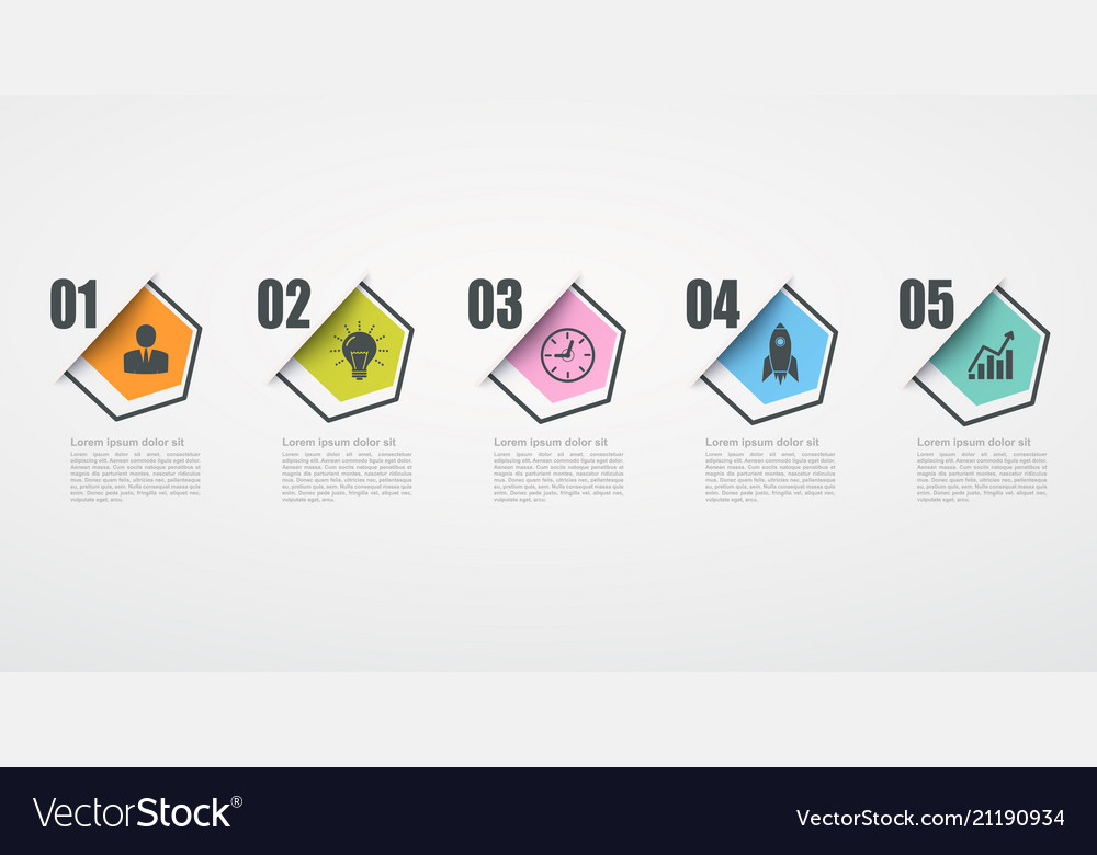 Infographic design template with 5 step structure