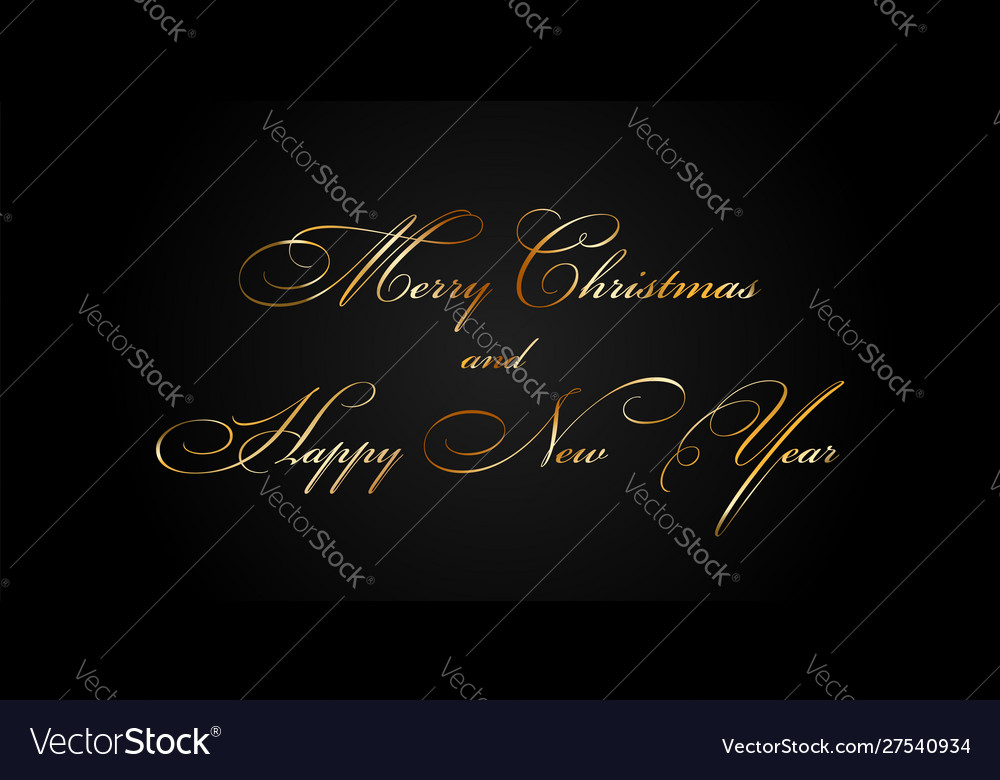 Merry christmas and happy new year gold text