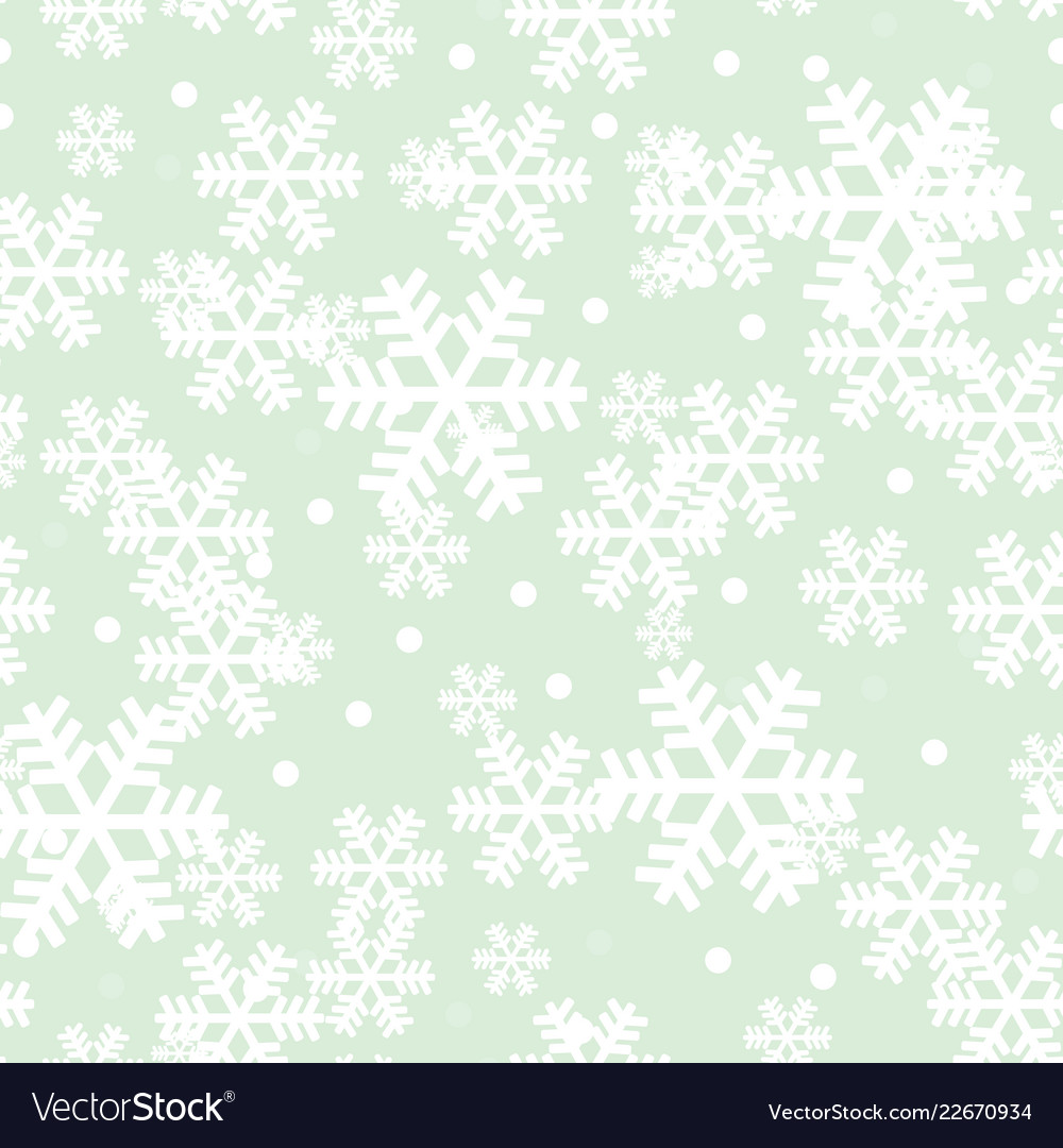 Mint green christmas snowflakes repeat pattern