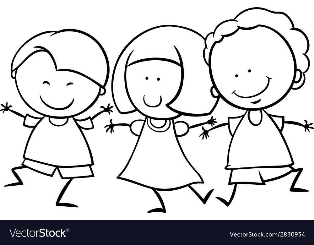Multicultural children coloring page Royalty Free Vector
