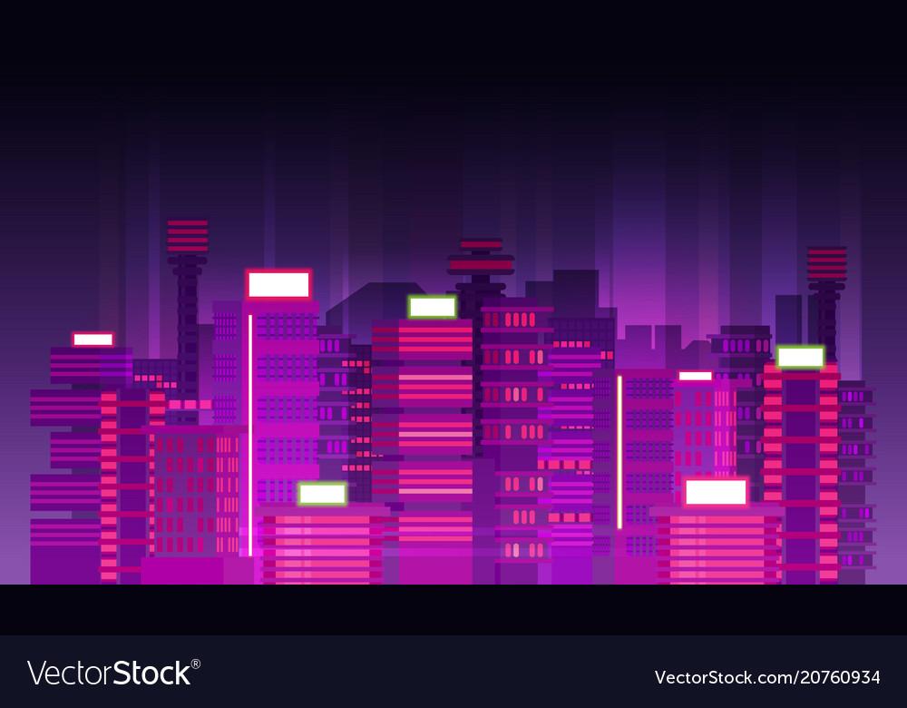 Night city background flat retro style