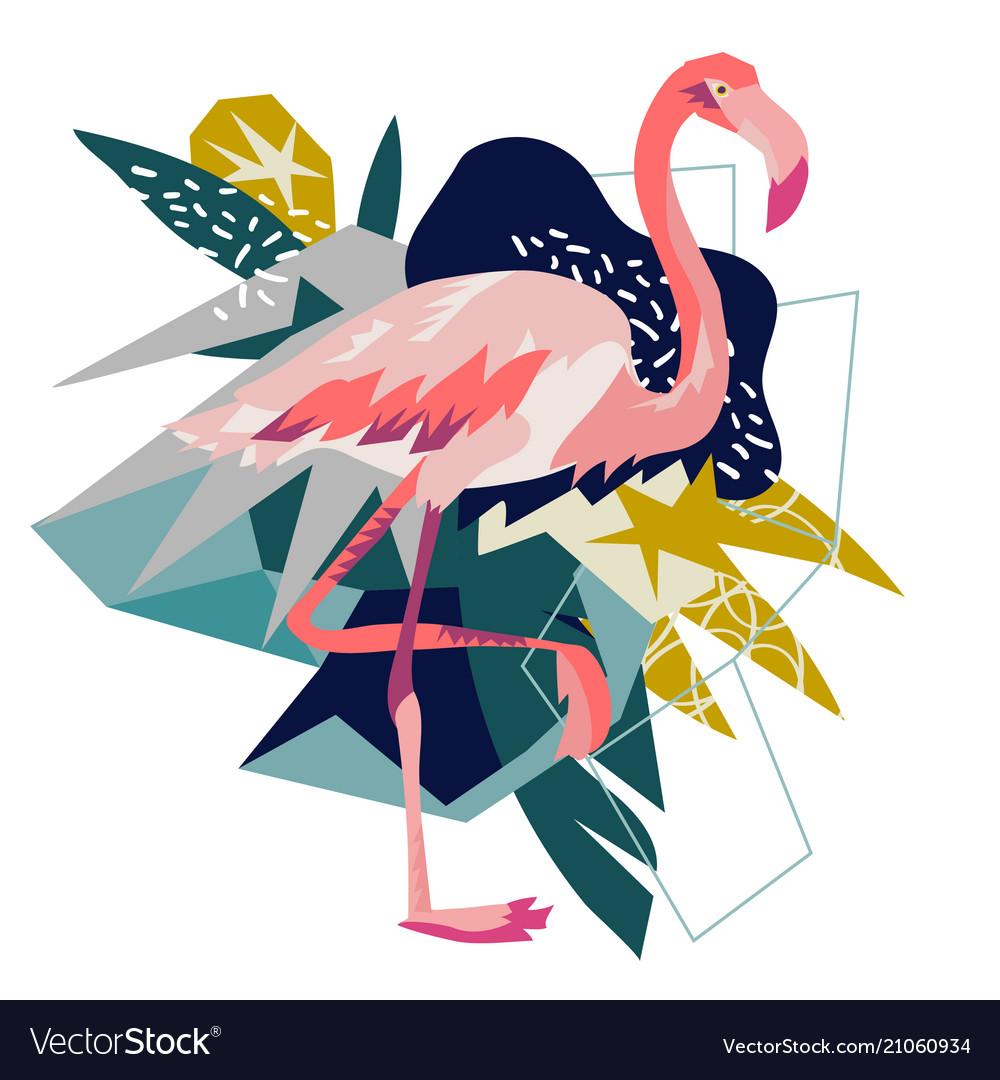 Pink flamingo isolated on