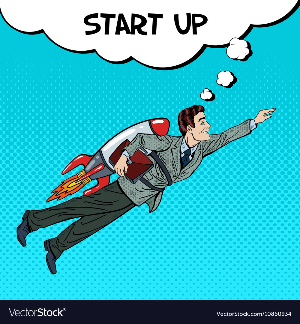 Pop Art Businessman Flying on Rocket Start Up