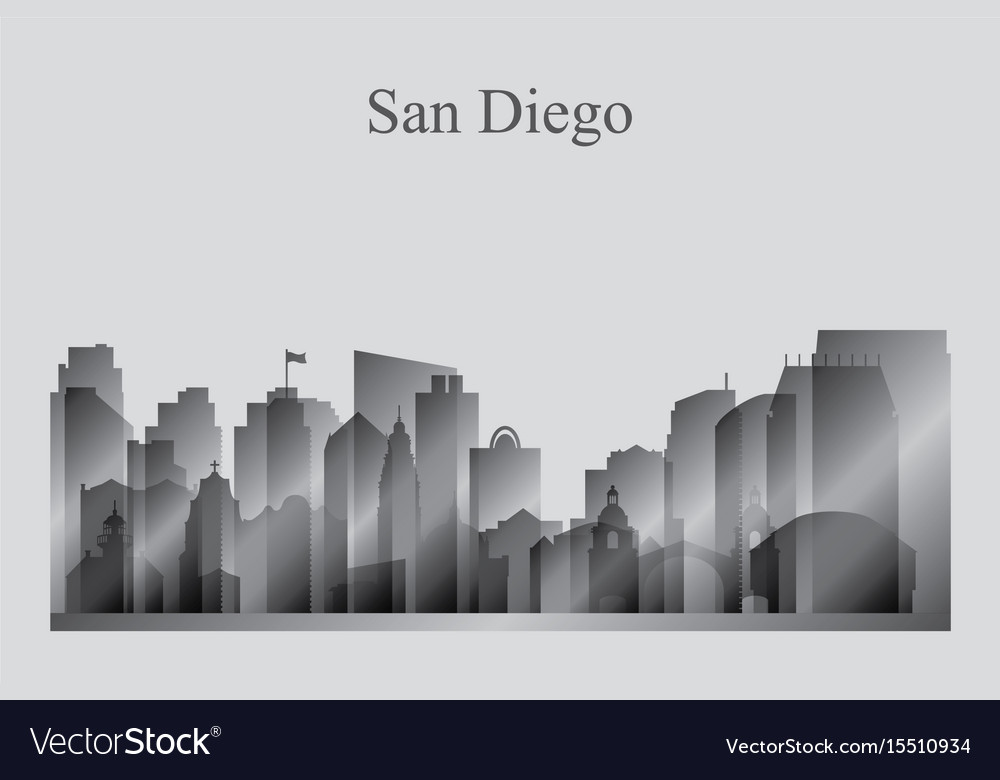 San diego city skyline silhouette in grayscale vector image