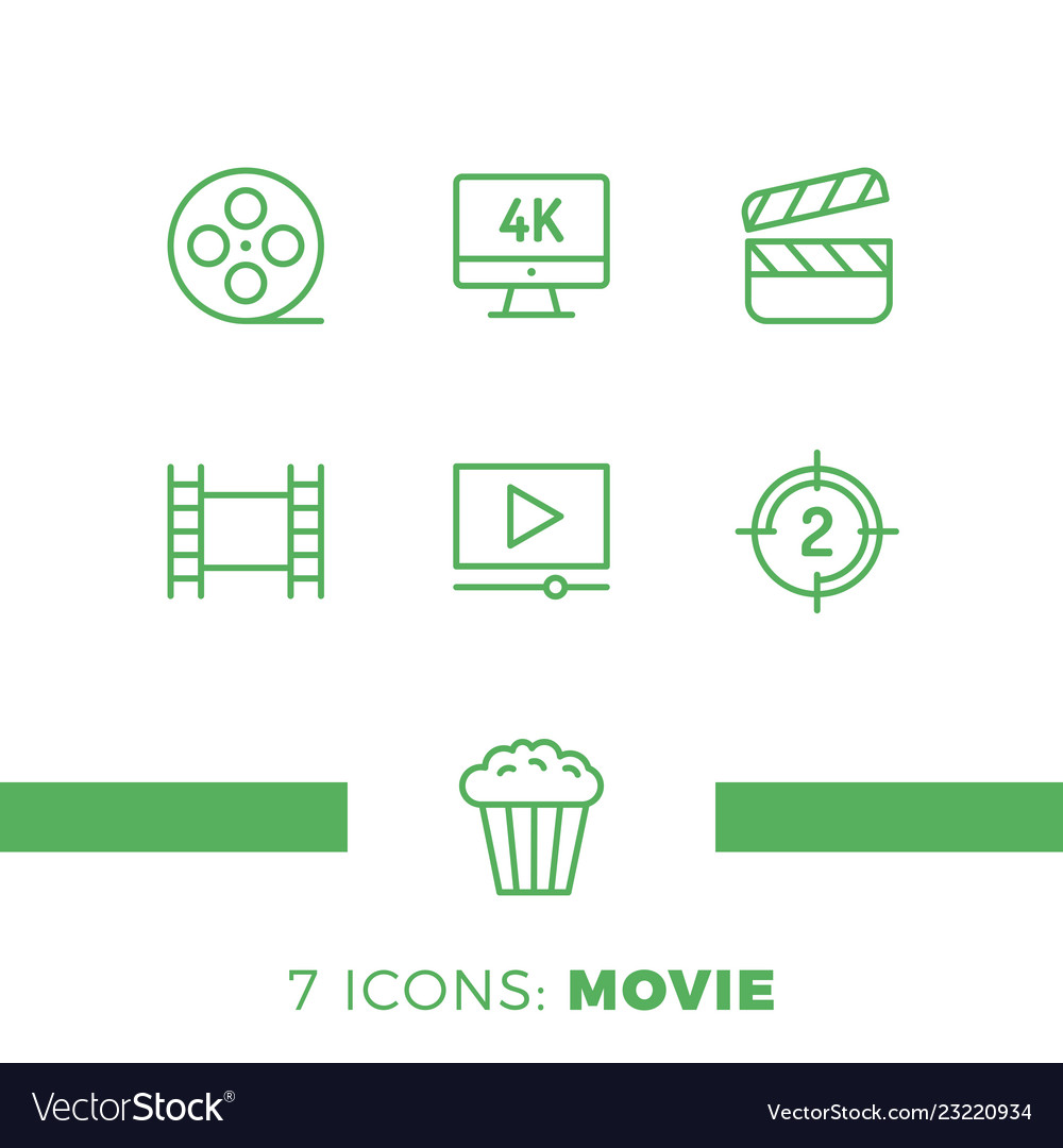 Simple set of cinema related line icons contains