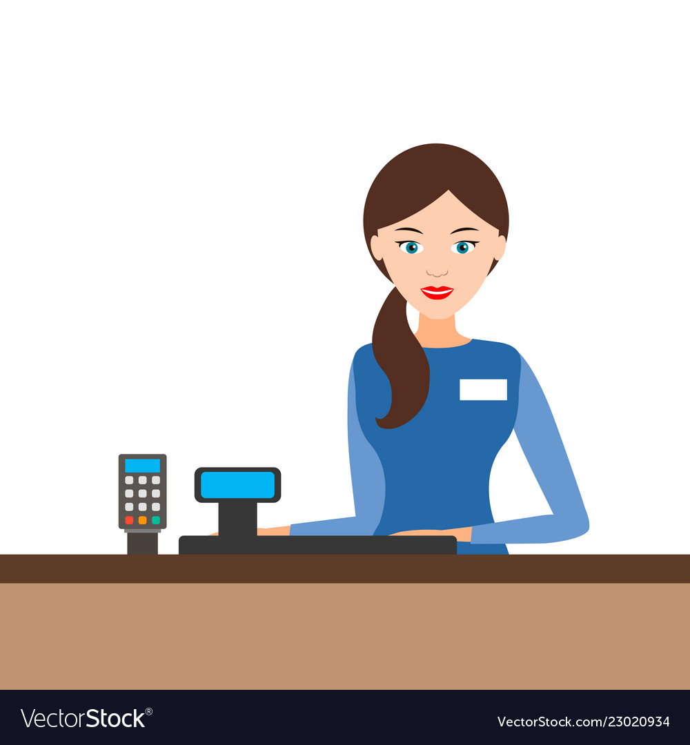 Young Cashier Girl Behind The Cash Register Vector Image