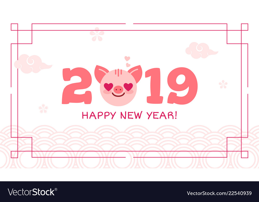 2019 happy new year zodiac pig sign character