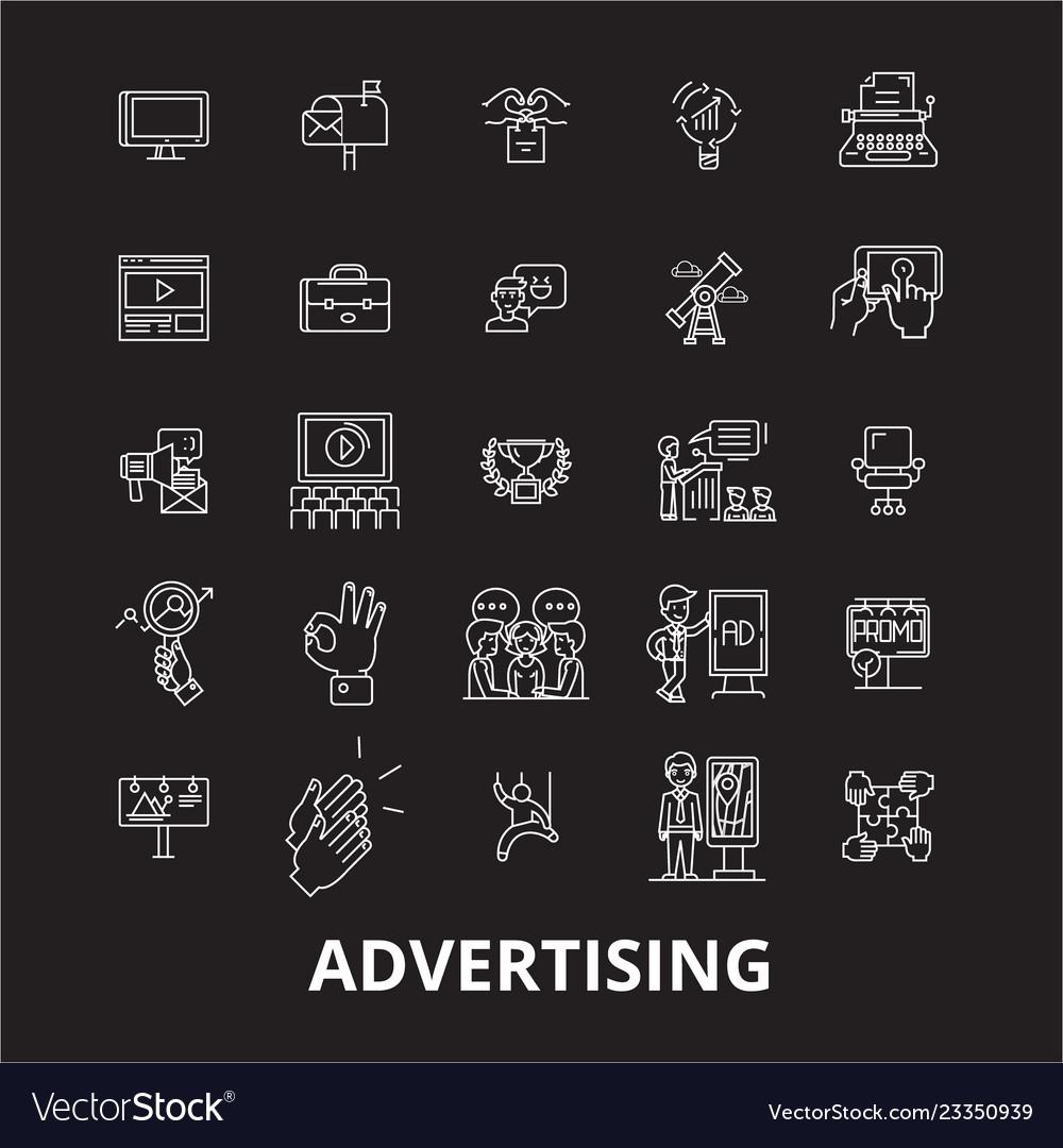 Advertising editable line icons set on