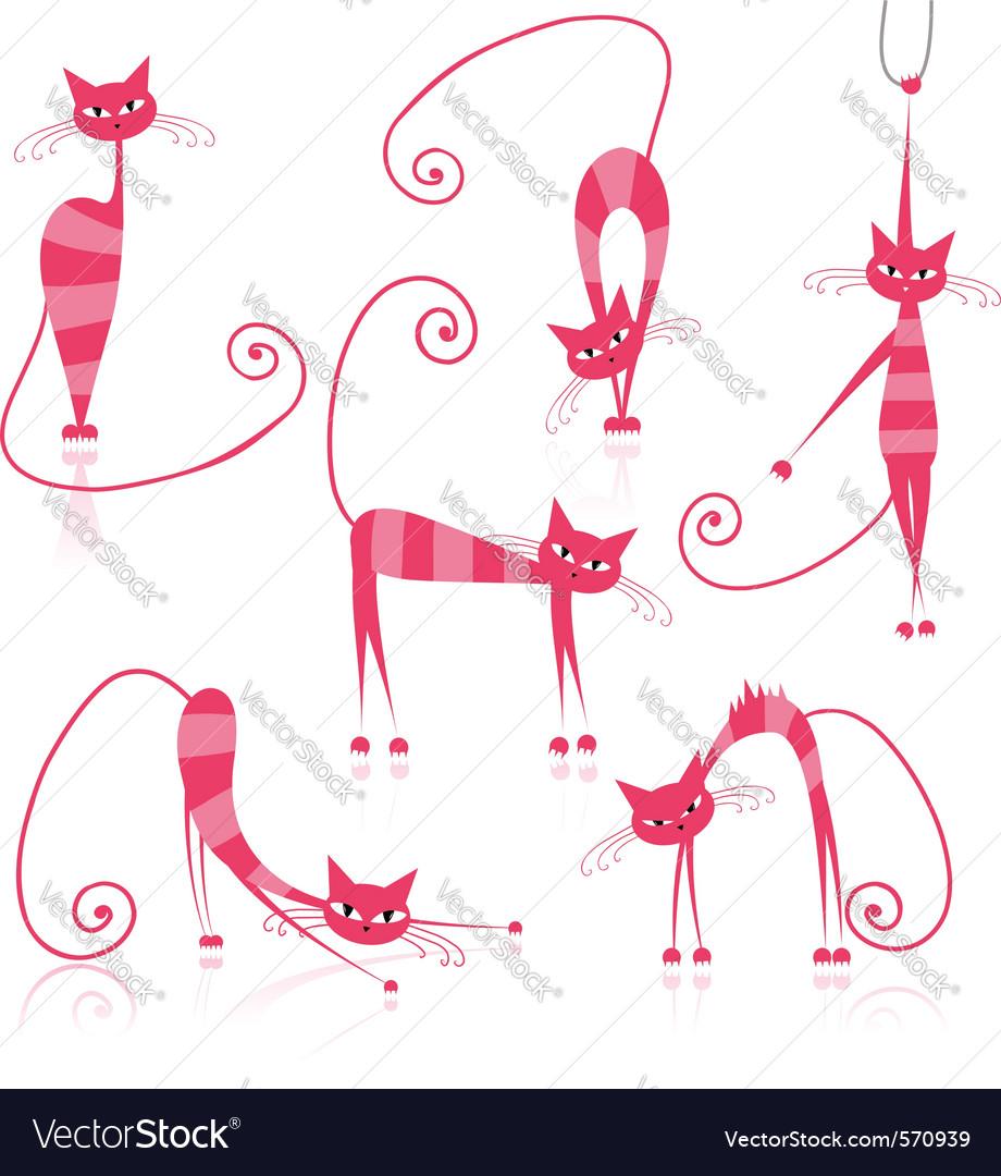 Cartoon striped cats vector image