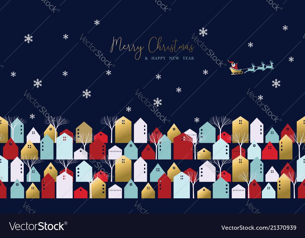 Christmas and new year xmas town greeting card
