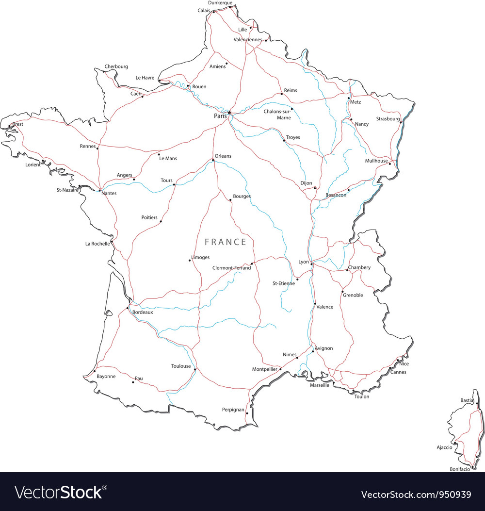 Image of: France Black White Map Royalty Free Vector Image
