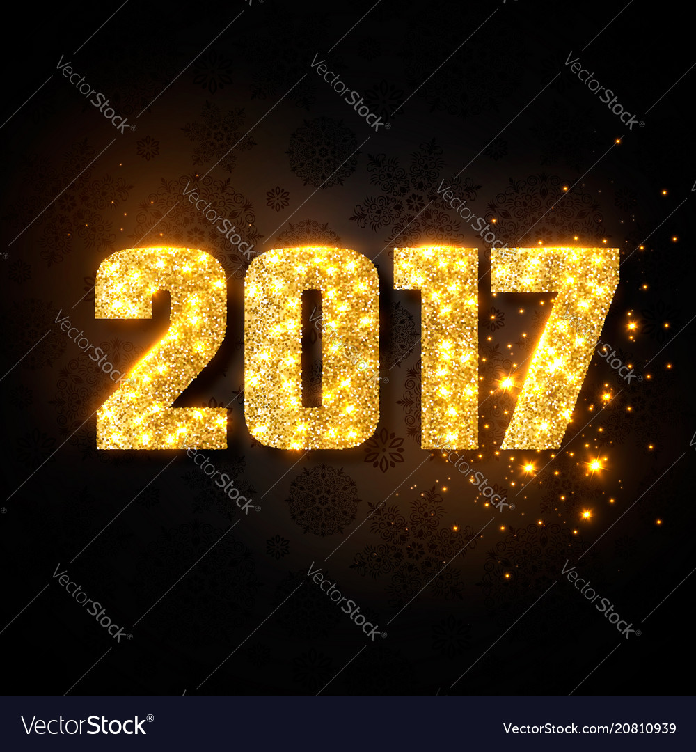 Gold numeric 2017 christmas new year concept