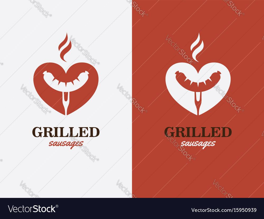 Grill bbq hotdog love symbol fast food logo