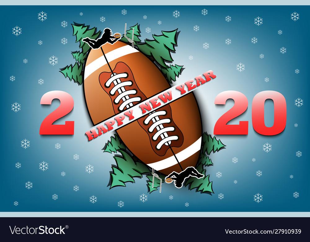 2020 Christmas Football Happy new year 2020 and football ball Royalty Free Vector