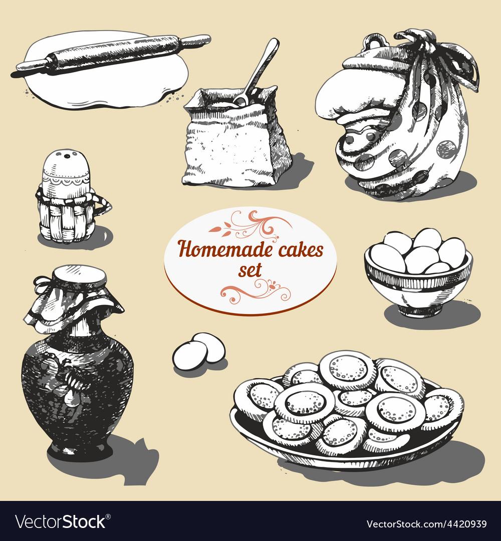 Homemade cakes set