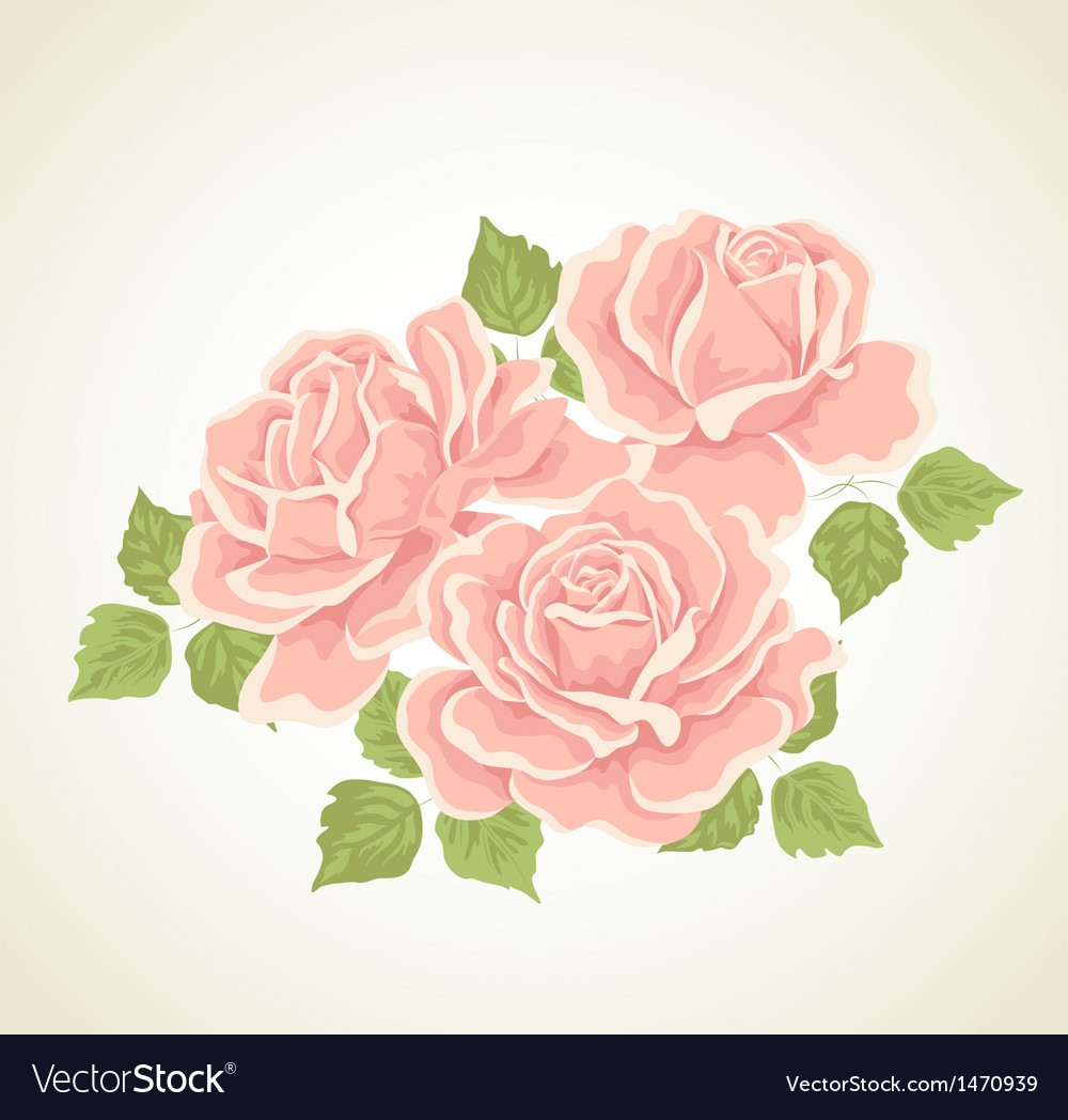 Roses With Flowers Bouquet Royalty Free Vector Image