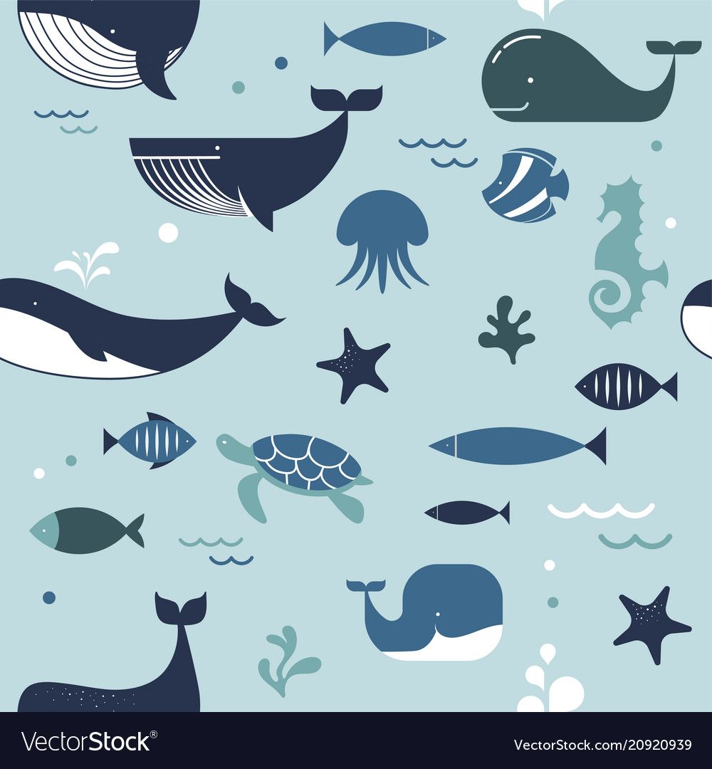 Sea life whales dolphins seamless pattern