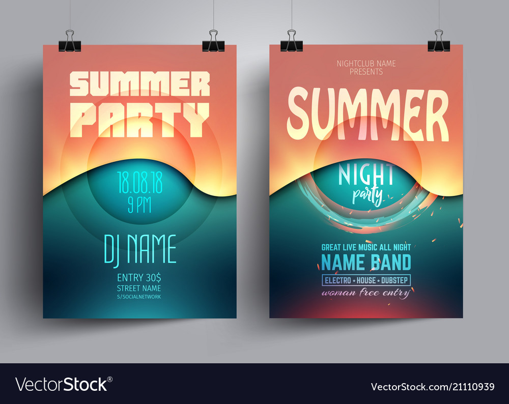 Summer party flyer or poster layout template