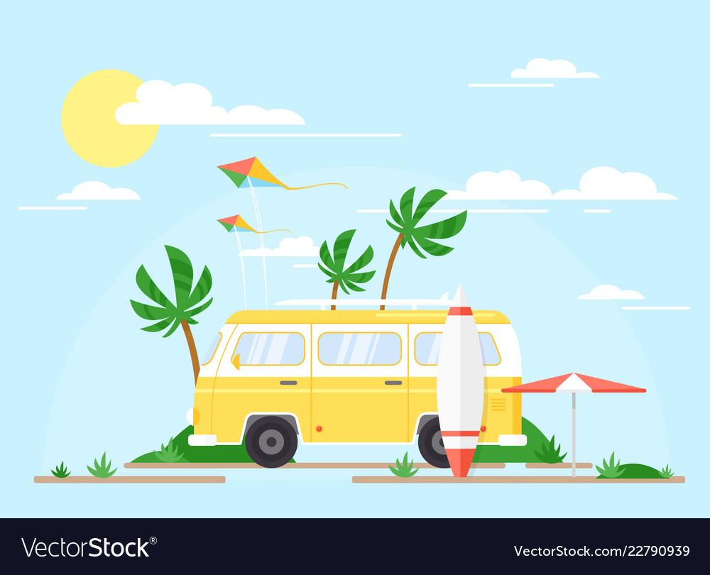 Surfing bus on palm beach