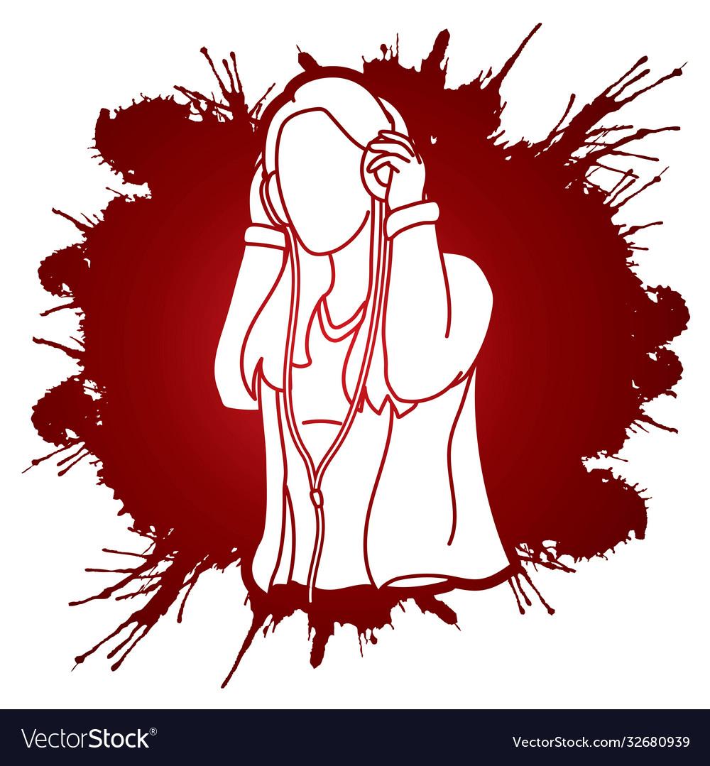 Woman listening music with headphones cartoon