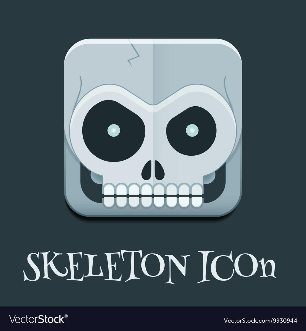 Crazy Skeleton Skull Square Icon vector image