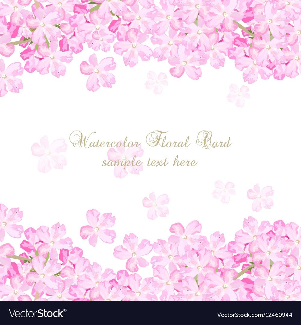 Delicate Pink Flowers Card Watercolor Flowers Vector Image
