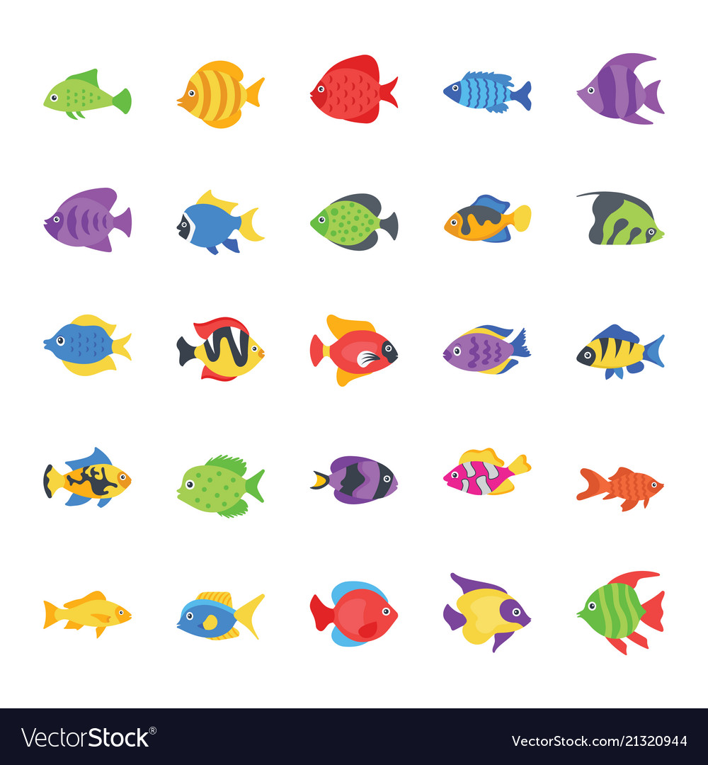 Fishes flat icons set vector