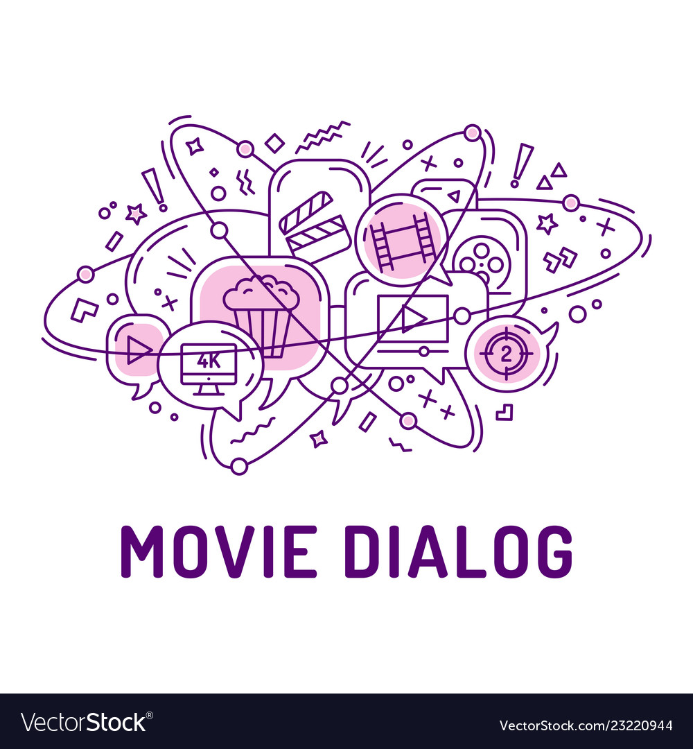 From movie or cinema icons in chat bubbles with