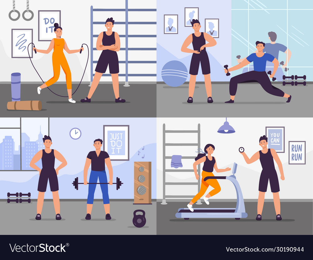 Gym coach set people training