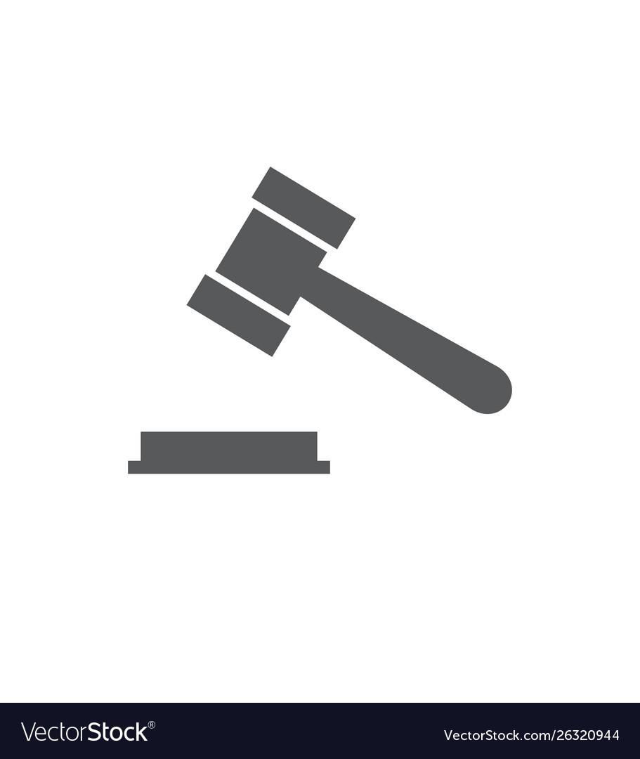 Hammer judge icon on white