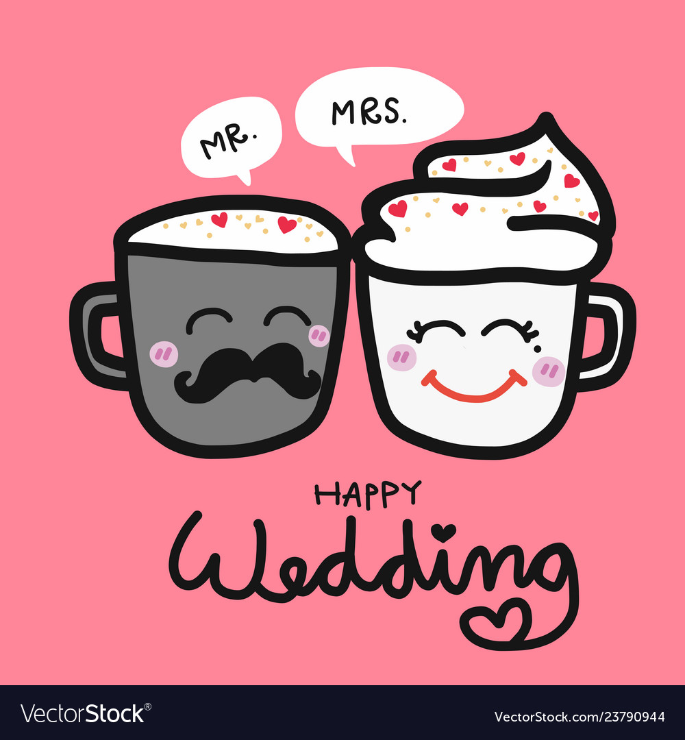 Happy Wedding Cute Couple Coffee Cup Cartoon Vector Image