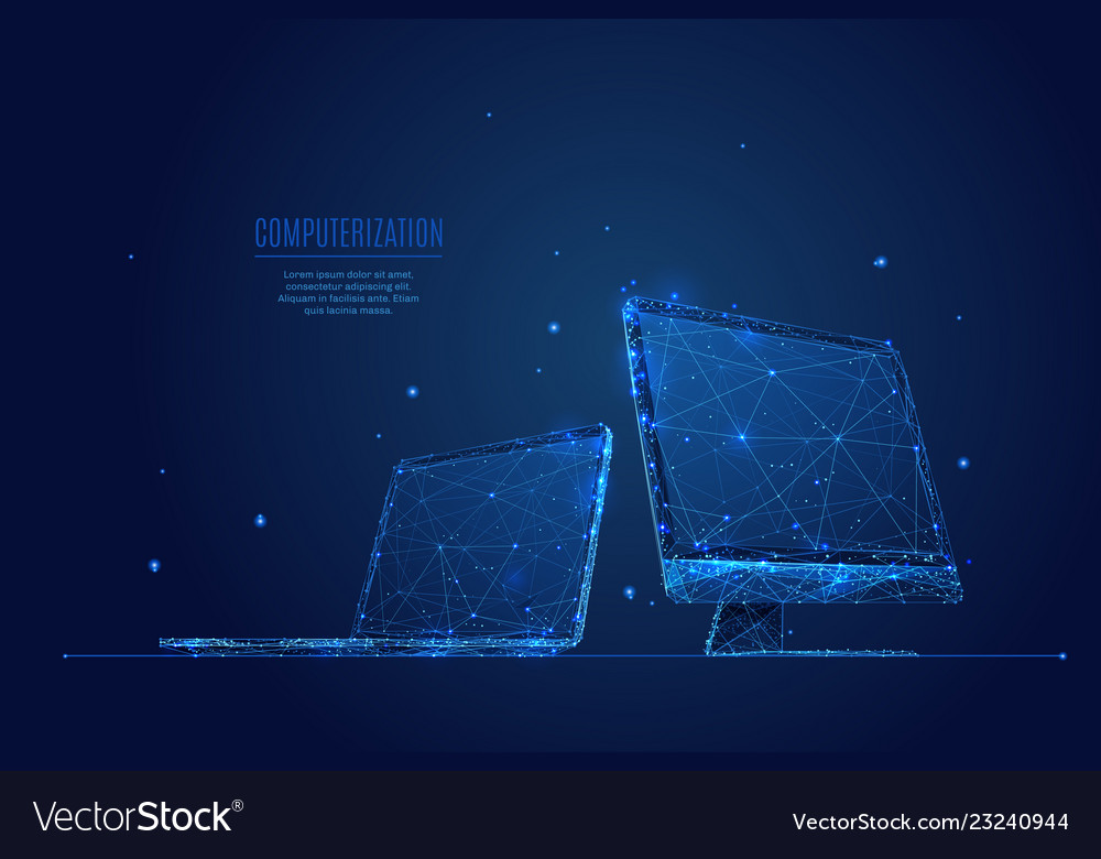 Laptop and monitor low poly