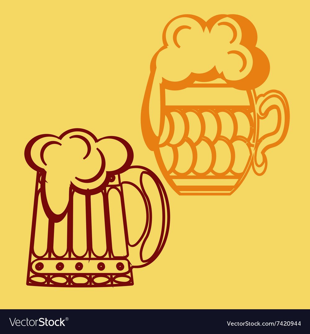 Monochrome icon set with mug beer vector image