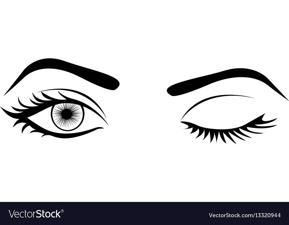 Monochrome silhouette with wink woman eye vector image