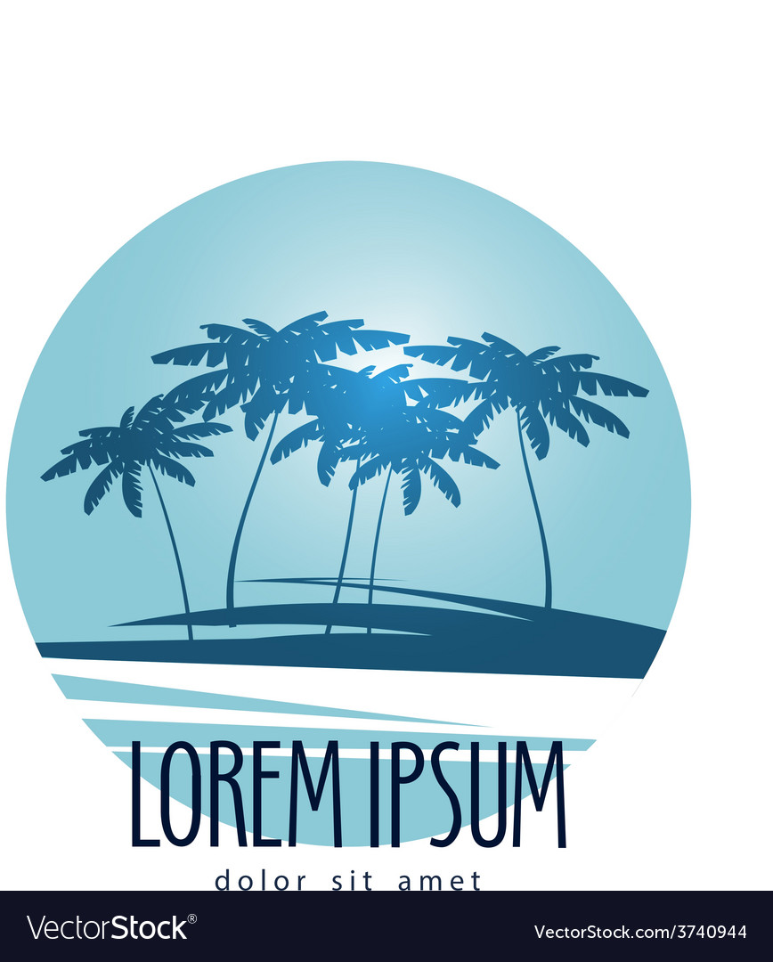 Palm trees logo design template tropical island
