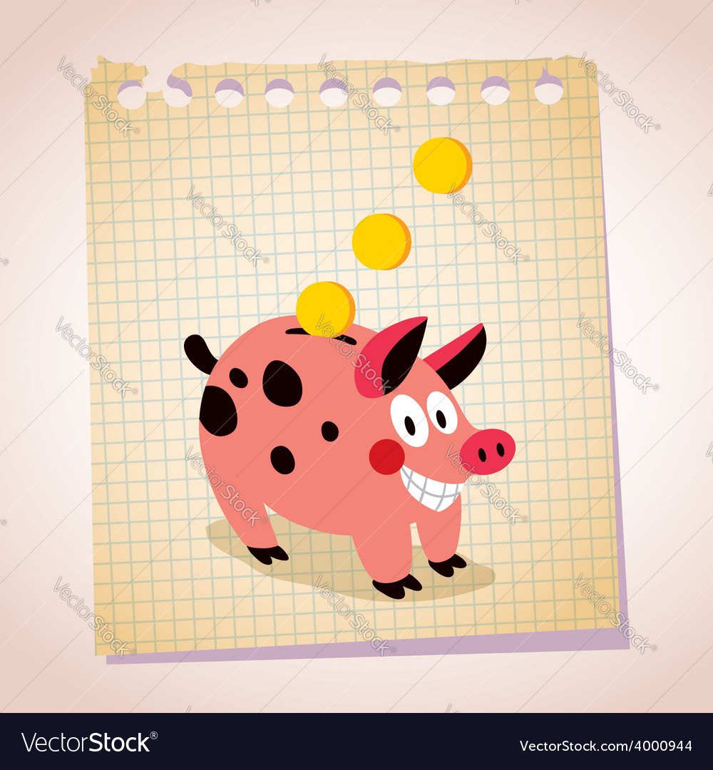 Piggy bank note paper cartoon