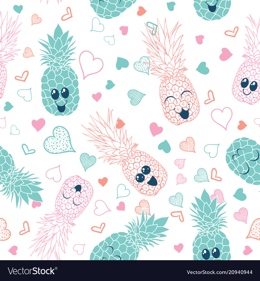 Pink and blue pineapple faces seamless pattern